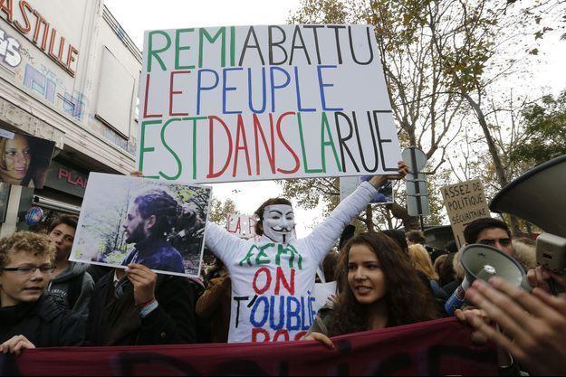 Manifestation en soutien à Rémi Fraisse, en novembre 2014 à Paris.