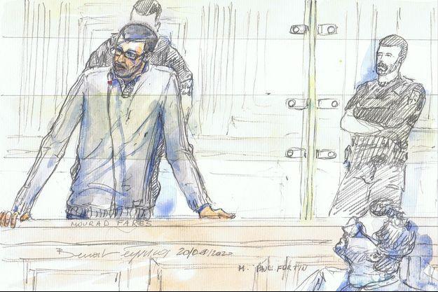 Dessin montrant Mourad Farès le 20 janvier, durant son procès à Paris.