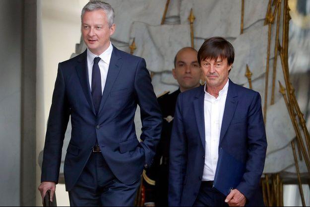Bruno Le Maire et Nicolas Hulot en mai 2017.