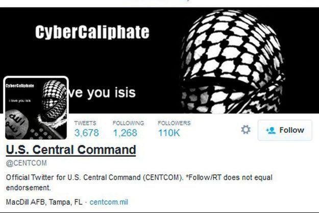 Une capture d'écran du compte Twitter du commandement américain piraté le 12 janvier par des hackers agissant au nom de l'Etat islamique.