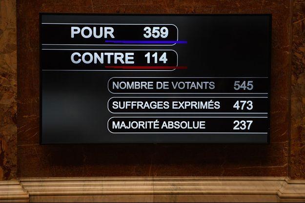 Lors du vote à l'Assemblée nationale.