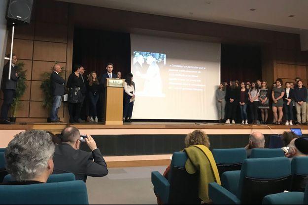 Le lycée Franco-Allemand de Freiburg présente son projet dans l'amphithéâtre du lycée Louis le Grand à Paris, le 25 janvier 2018
