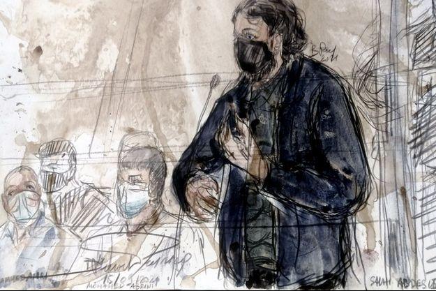 Un croquis d'audience montrant Salah Abdeslam, le 15 septembre.