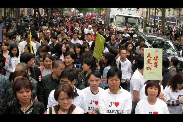 A plus fort de la manifestation, 8500 personnes défilaient rue de Belleville, à Paris