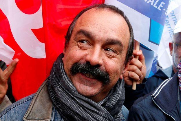 Philippe Martinez de la CGT lors d'une manifestation en octobre 2017 à Paris.