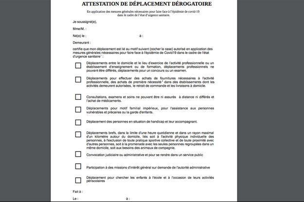 L'attestation dérogatoire à remplir pour justifier tout déplacement durant le reconfinement à partir de vendredi.