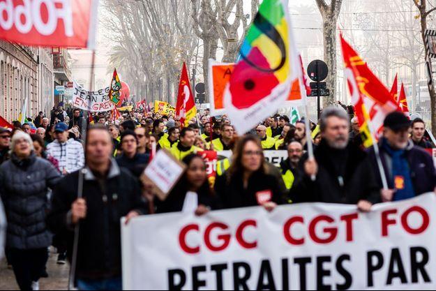 Photo prise lors de la manifestation contre la réforme des retraites à Perpignan.