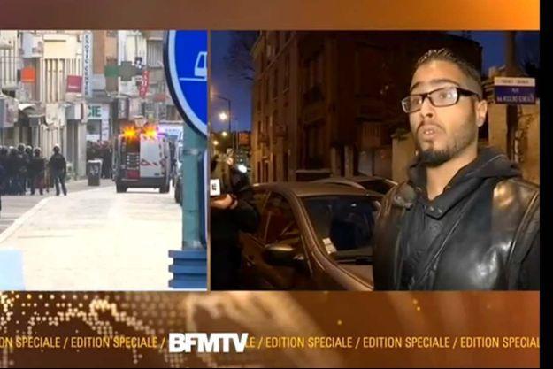 Jawad D. mercredi matin, à l'antenne de BFMTV. Paris Match était présent lorsqu'il s'est manifesté auprès des policiers.