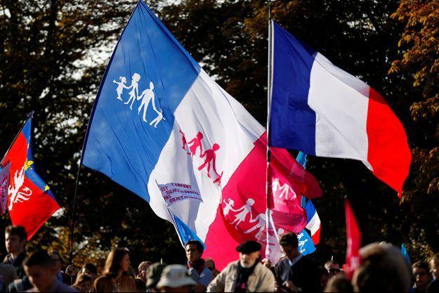 Des drapeaux de la Manif pour tous, lors d'un rassemblement en 2016.