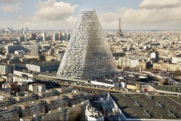 Projet de la tour triangle à la porte de Versailles, à paris, au milieu du parc des expositions.