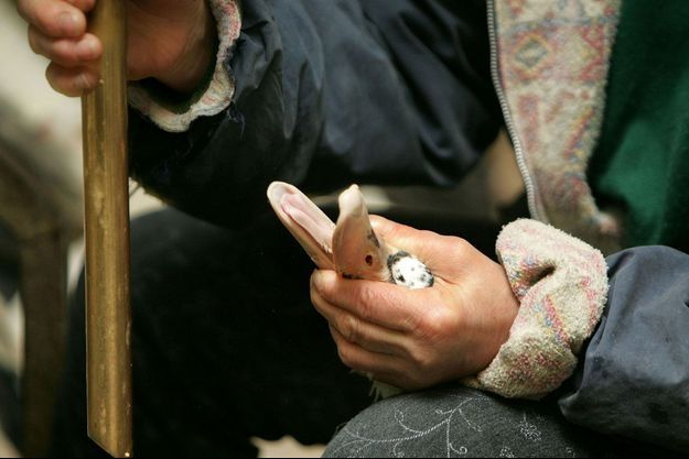 Une productrice de foie gras des Landes tient fermement une oie sur le point d'être gavée.