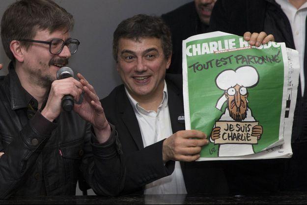 Luz et Patrick Pelloux présentent la Une du nouveau Charlie Hebdo