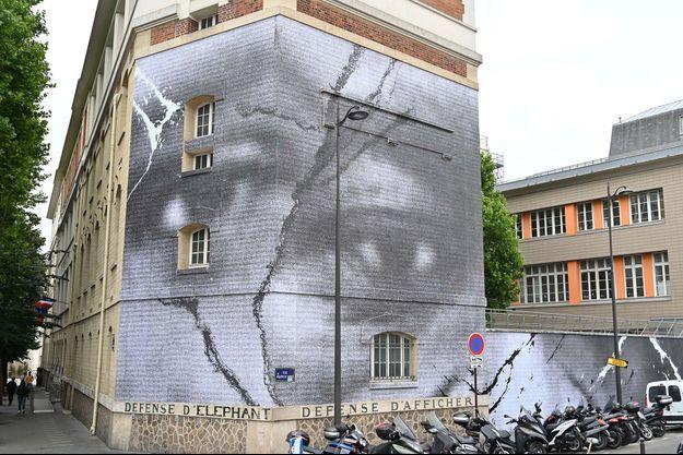 La fresque s'affiche sur les murs d'un bâtiment du 10e arrondissement