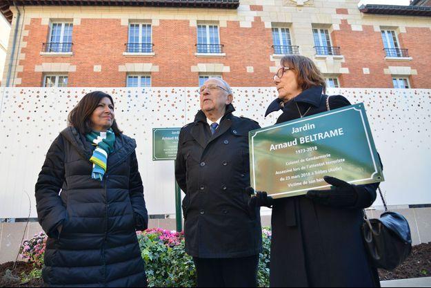 Inauguration du jardin Arnaud-Beltrame, le 26 février dernier, en présence d'Anne Hidalgo.
