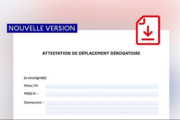 Une nouvelle version de l'attestation de déplacement dérogatoire est disponible.