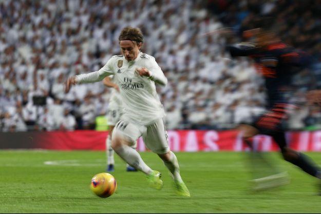 Luka Modric, milieu de terrain du Real Madrid, face à Santander.