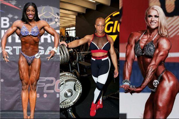Sur la scène des Championnats du monde de bodybuilding, deux de nos trois athlètes (Tjiki Sidibé à g. et Julia Föry) ont asséché leurs muscles. Emaciées, elles ont perdu 6 à 8 kilos. Au centre, Barbara Ménage est encore en préparation en vue des championnats du mois de mars 2019.