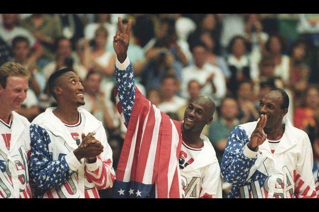 Larry Bird, Scottie Pippen, Michael Jordan et Clyde Drexler.