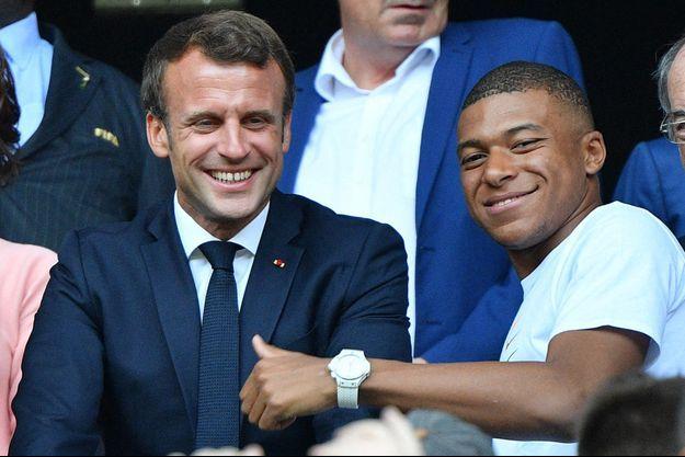 Emmanuel Macron et Kylian Mbappé , ici en 2019 à Lyon.