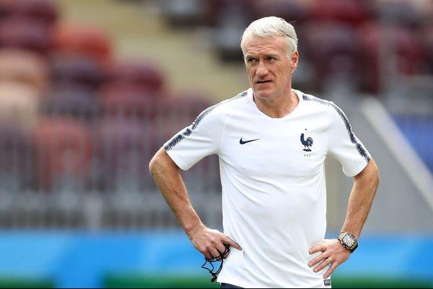 Didier Deschamps lundi à l'entraînement des Bleus.
