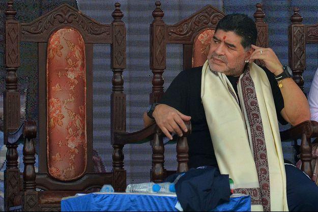 Diego Maradona, ici en Inde en décembre 2017.