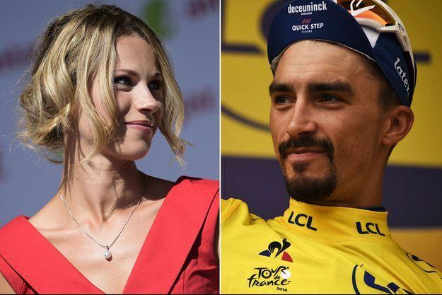 Marion Rousse, ici en juillet 2015 et Julian Alaphilippe en jaune lors de l'arrivée à Valloire sur le Tour 2019. (montage)