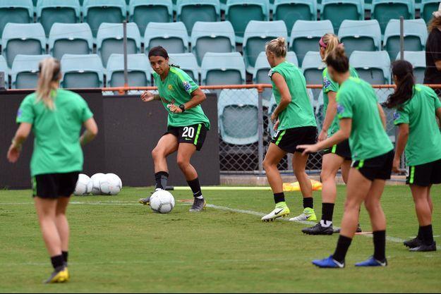 L'attaquante Sam Kerr de l'équipe nationale de football australienne lors d'une séance d'entraînement à Sydney, en février 2019.