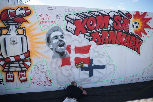 Une fresque en l'honneur de Christian Eriksen, à Copenhague.