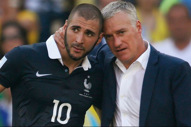 Karim Benzema et Didier Deschamps lors de la Coupe du monde 2014.