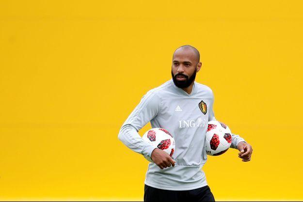 Thierry Henry lors de l'entraînement de la Belgique, lundi.