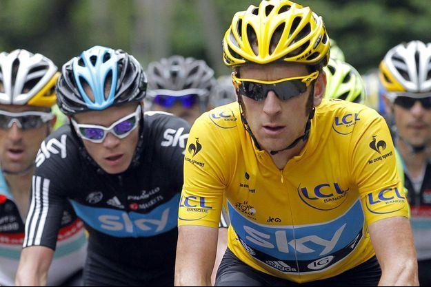 Bradley Wiggins et Christopher Froome sur le Tour de France en 2012.