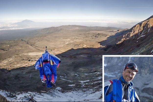 Valery Rozov saute du Kilimanjaro en Tanzanie, le 10 février 2015