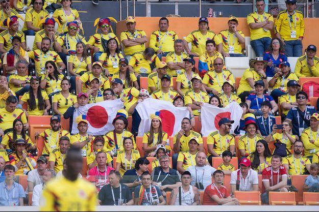 Des supporters colombiens et japonais durant le match Colombie/Japon.