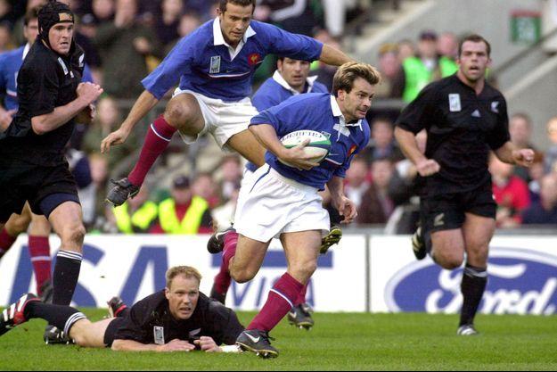Christophe Dominici face au All Blacks en 1999.