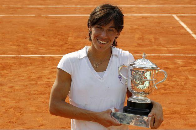 Francesca Schiavone, lors de sa victoire à Roland-Garros en 2010.