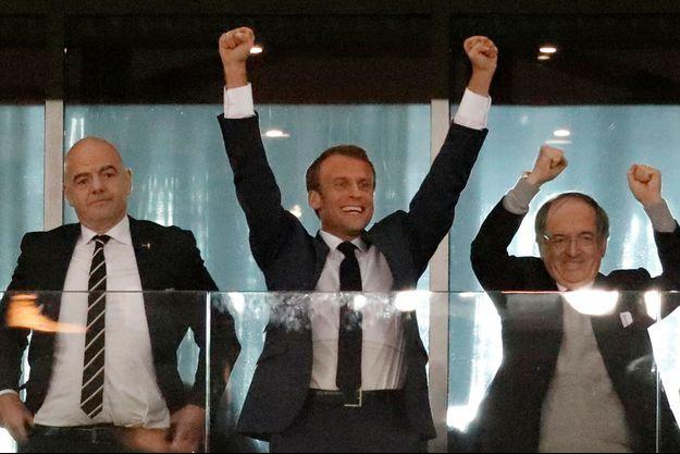 Le président de la République Emmanuel Macron n'a pas caché son enthousiasme sur le but de la France.