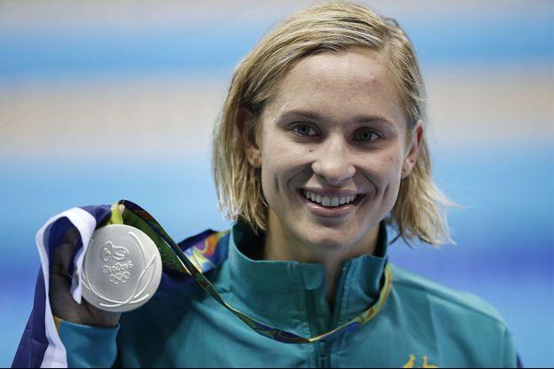 Madeline Groves aux JO de Rio, après avoir remporté l'argent en natation.