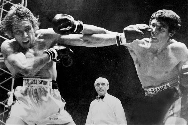Le boxeur Jean-Claude Bouttier face à Carlos Monzon en 1972.
