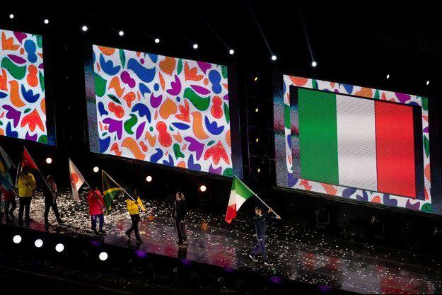 L'équipe italienne défile lors de la cérémonie d'ouverture des Jeux olympiques de la jeunesse en 2018.