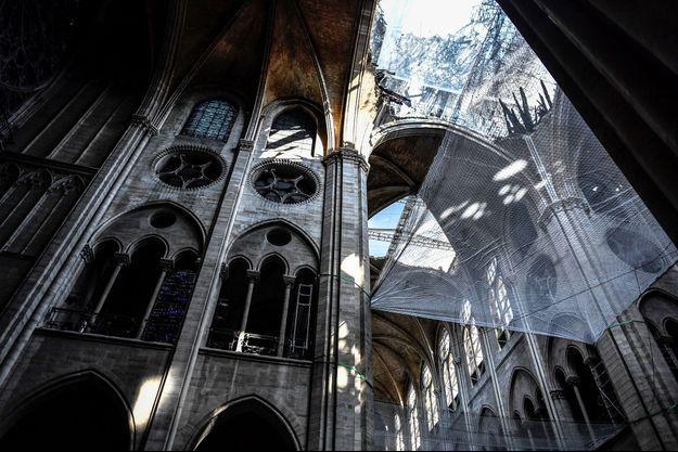 A l'intérieur de la cathédrale Notre-Dame, désormais en rénovation.
