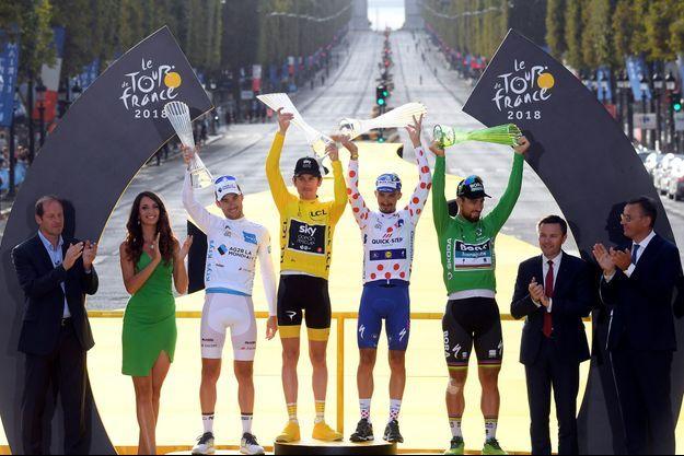 Le podium des maillots distinctifs du Tour de France 2018.