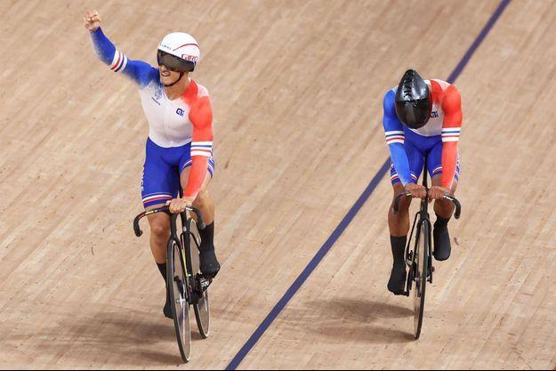 Les Français en bronze en cycliste sur piste, dans l'épreuve de vitesse.