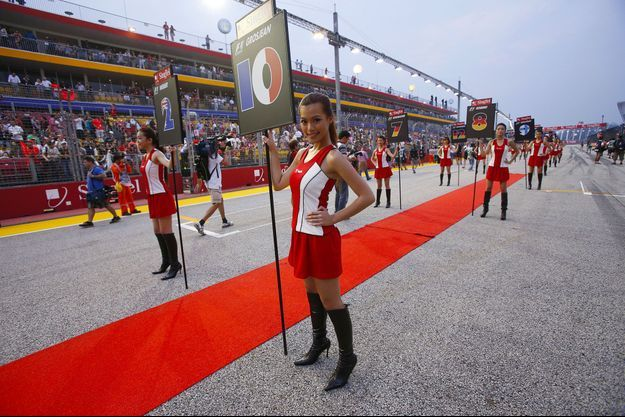 Sur la grille de départ du Grand Prix de Singapour, en septembre 2012.