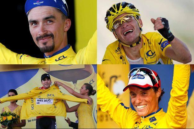 De haut en bas, de gauche à droite : Julian Alaphillipe, Thomas Voeckler, Tony Gallopin et Sylvain Chavanel.