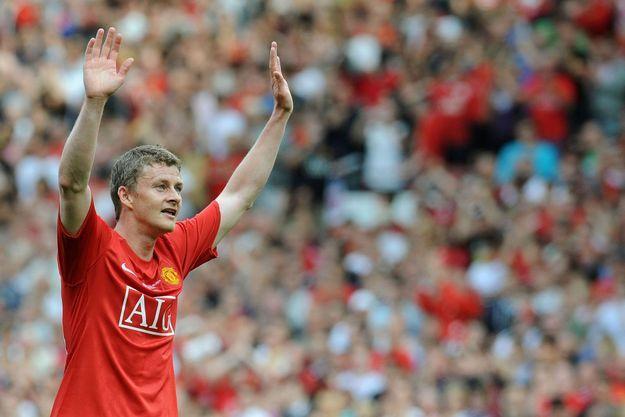 Ole Gunnar Solskjaer sous le maillot de Manchester United.