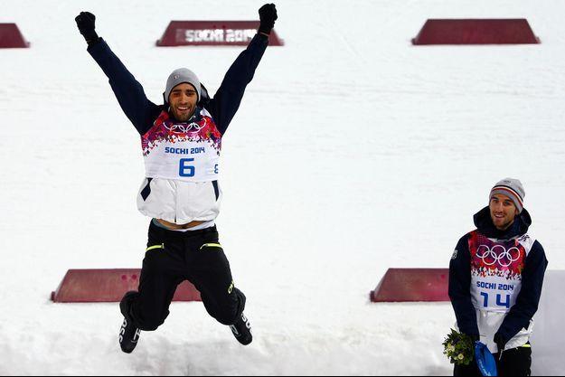 Martin Fourcade, champion olympique, et Jean-Guillaume Beatrix, médaillé de bronze.