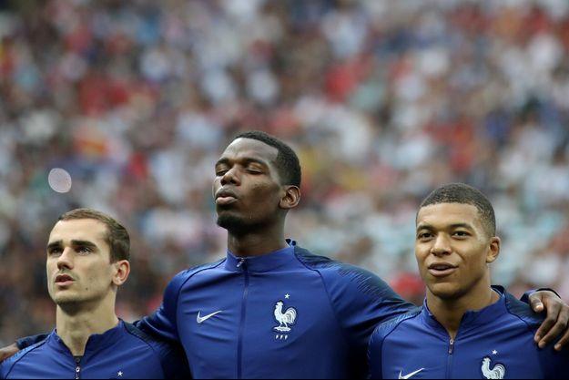 Antoine Griezmann, Paul Pogba et Kylian Mbappé avant France-Croatie