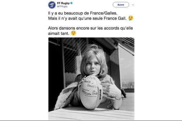 La Fédération française de rugby a rendu hommage à France Gall, décédée dimanche.