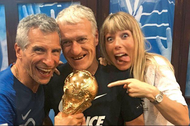 Nagui, Didier Deschamps et Mélanie Page, le soir de la victoire.