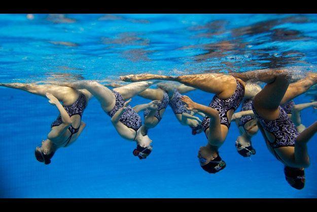 Octobre 2011, la troupe de natation synchronisée mexicaine s'entraîne pour les Pan American Games.